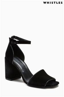Whistles Black Hedda Velvet Block Heel Sandal