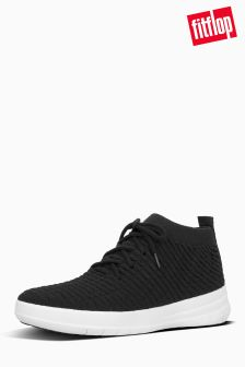 FitFlop™ Black Uberknit Slip-On High Top Sneaker In Waffle Knit