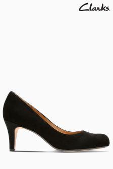 Clarks Black Arista Abe Mid Heel Court Shoe