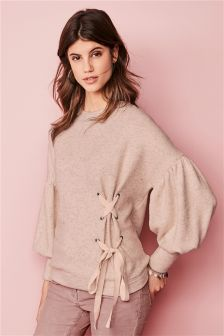 Balloon Sleeve Tie Side Sweater