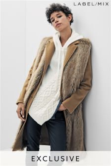 Mix/Osman Tailored Faux Fur Front Coat