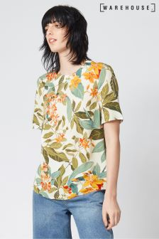 Warehouse Pattern Ocean Floral Shell Top