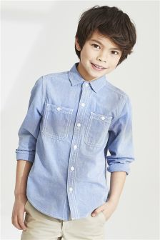 Long Sleeve Contrast Stitch Shirt (3-16yrs)