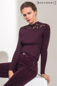 Warehouse Berry Lace High Neck Jumper