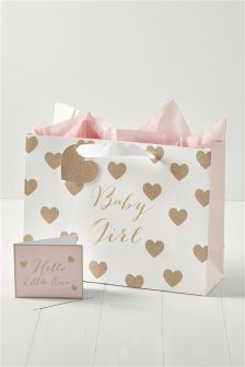 Glitter Baby Girl Bag Card Tissue Set