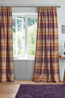 Kingsley Woven Check Pencil Pleat Lined Curtains