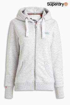 Superdry Grey Orange Label Zip Up Hoody