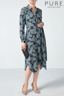 Pure Collection Charcoal Paisley Silk Floaty Hem Dress