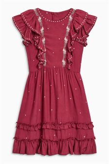 Ruffle Embroidered Dress (3-16yrs)