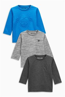 Embossed Monkey Long Sleeve T-Shirts Three Pack (3mths-6yrs)