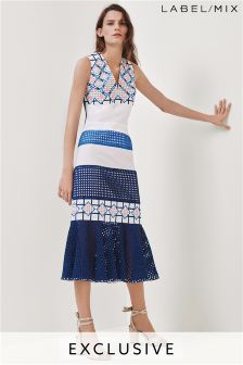 Mix/Teatum Jones White/Blue Embroidered Full Hem Dress