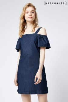 Warehouse Mid Wash Bardot Ruffle Dress