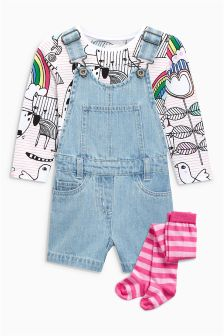 Denim Dungarees And Printed Top Set (3mths-6yrs)