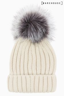 Warehouse Cream Faux Fur Pom Hat