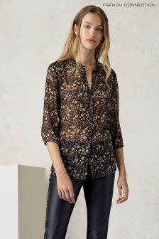 French Connection Green Hallie Crinkle Shirt
