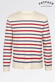 Fat Face Ecru Long Sleeve Stripe Crew