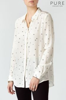 Pure Collection Star Print Washed Silk Blouse