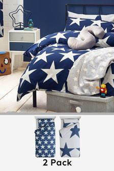 2 Pack Navy Star Bed Set