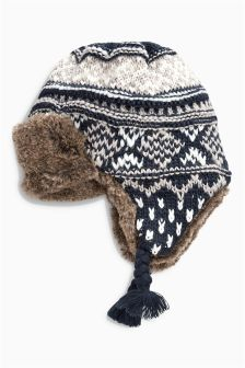 Fairisle Pattern Trapper Hat (Younger Boys)