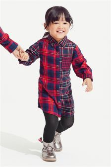 Girls Spliced Tartan Shirt Dress (3mths-6yrs)