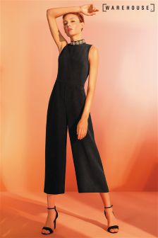 Warehouse Black Embellished Neck Jumpsuit