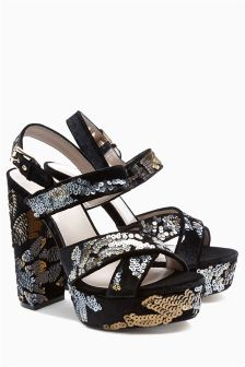 Sequin Velvet Platforms
