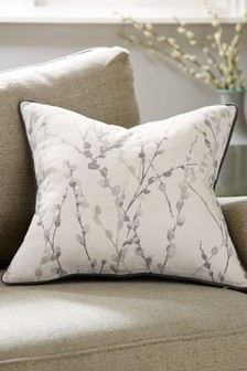 Grey Willow Floral Cushion