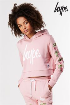 Hype Pink Embelished Crop Hoody