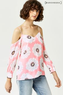 Warehouse Pink Melody Floral Split Sleeve Top