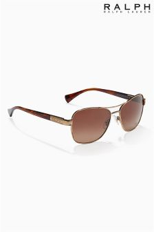 Ralph Lauren Brown Polarized Aviator Slim Sunglasses