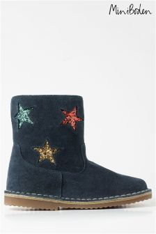 Boden Navy Short Leather Boots