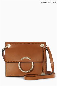 Karen Millen Tan Small Leather O Ring Satchel
