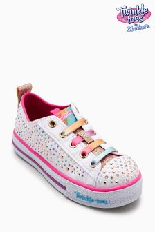 Skechers® Girls White/Multi Twinkle Toes Lighted Shoe