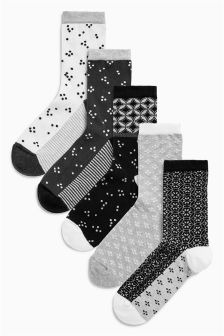 Pattern Ankle Socks Five Pack
