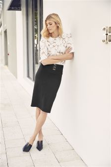 Textured Jersey Pencil Skirt