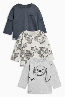 Sloth Long Sleeve T-Shirts Three Pack (3mths-6yrs)