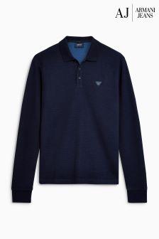 Armani Jeans Navy Long Sleeve Poloshirt