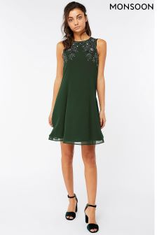 Monsoon Green Marta Embellished Dress