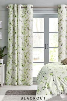 Butterfly Blackout Lined Eyelet Curtains