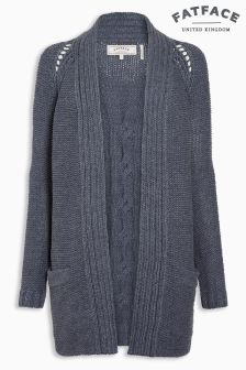 Fat Face Navy Chilton Cable Cardigan