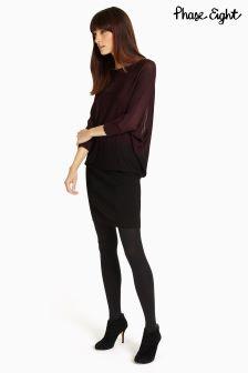 Phase Eight Merlot/Black Sheer Dip Dye Becca Dress