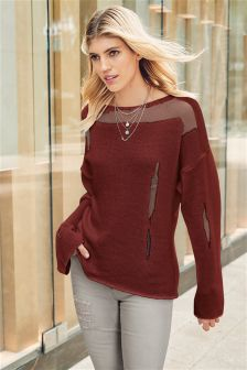 Sheer Patched Sweater