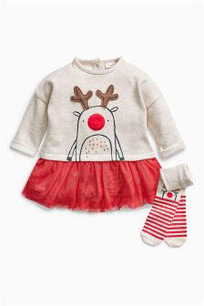 Reindeer Tunic And Tights Set (0mths-2yrs)