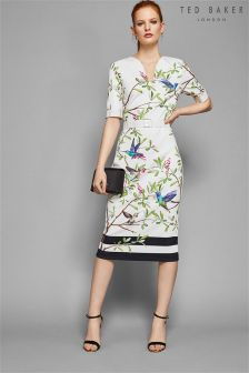 Ted Baker Ebrely White Bird Print Bodycon Dress