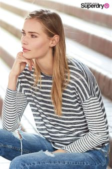 Superdry Navy/White Stripe Parisian Slouch Top