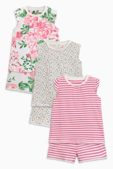 Floral Short Pyjamas Three Pack (9mths-8yrs)