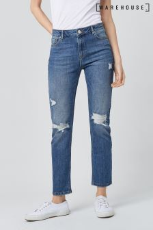 Warehouse Mid Wash Distressed Straight Cut Jean