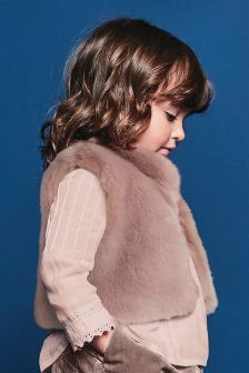 Faux Fur Collar Gilet (12mths-6yrs)