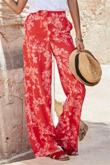 Wide Leg Print Trousers