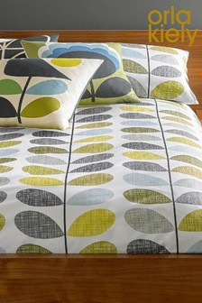 Set Of 2 Orla Kiely Scribble Stem Duck Egg Housewife Pillowcases